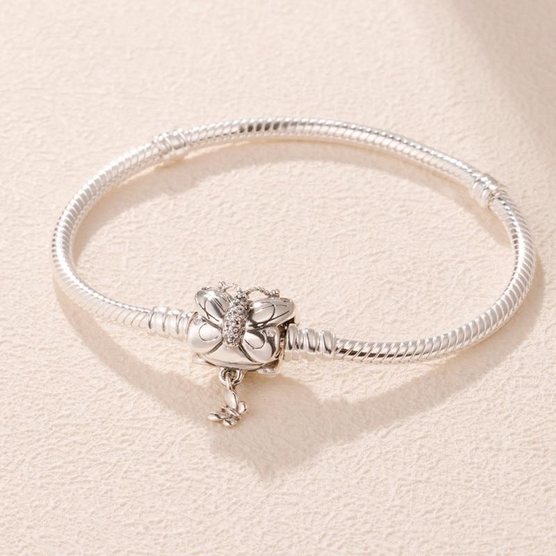 2019 Silver Bracelet with Decorative Butterfly Clasp snake bracelets for women fit silver 925 charms Original DIY beads make