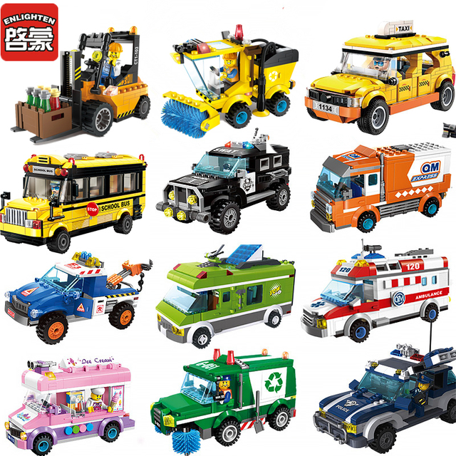 2018 Compatible Legoed vehicle tractor City series car police road Building  Blocks Bus sets truck figure 465cfa1f99