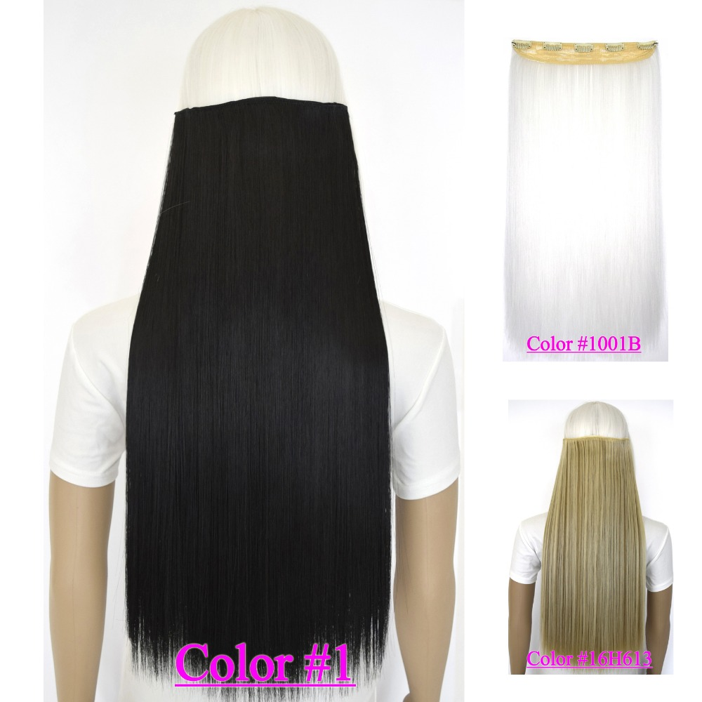 """24  """"(60 cm) 120g pedaço cabelos lisos nenhum clipe fibra brilhante quente resistente em extensões de cabelo 40 cores disponíveis"""