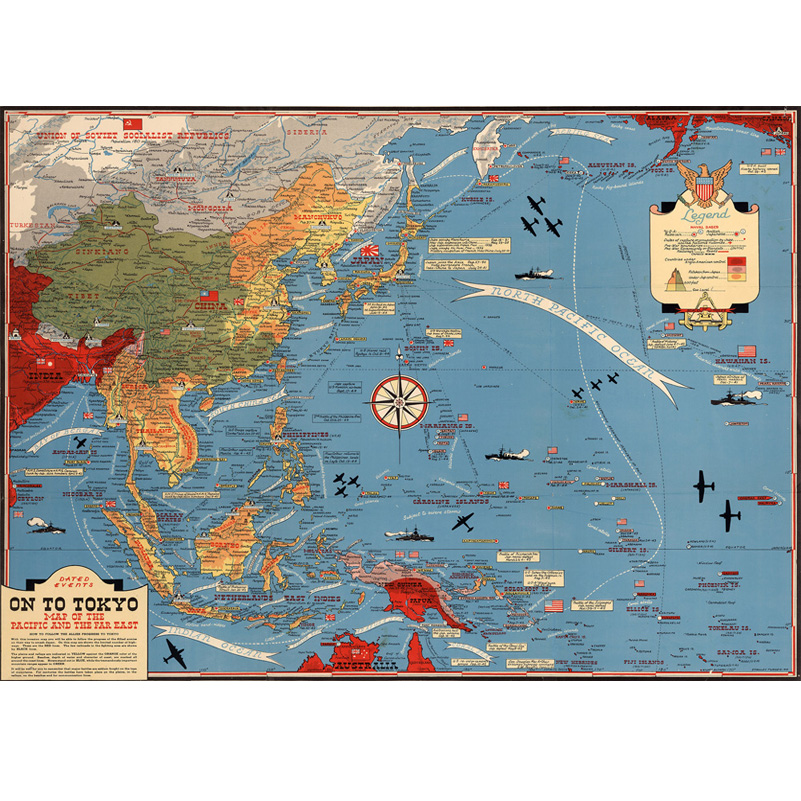 Map of The Pacific And The Far East Canvas Paintings Wall Art Home