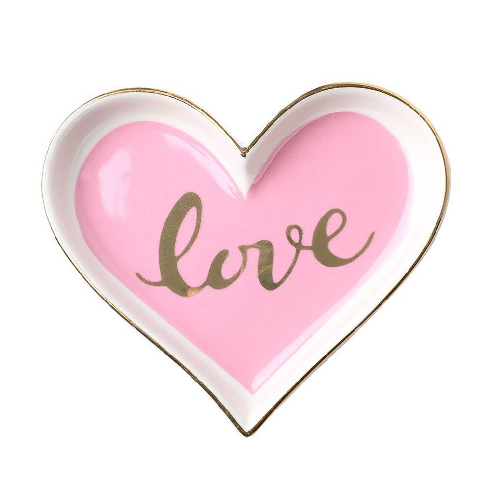 Керамическая в форме сердца лоток творческие держатели для тарелок на День Святого Валентина подарок свадебный домашний декор Ювелирная тарелка десерт - Цвет: pink love