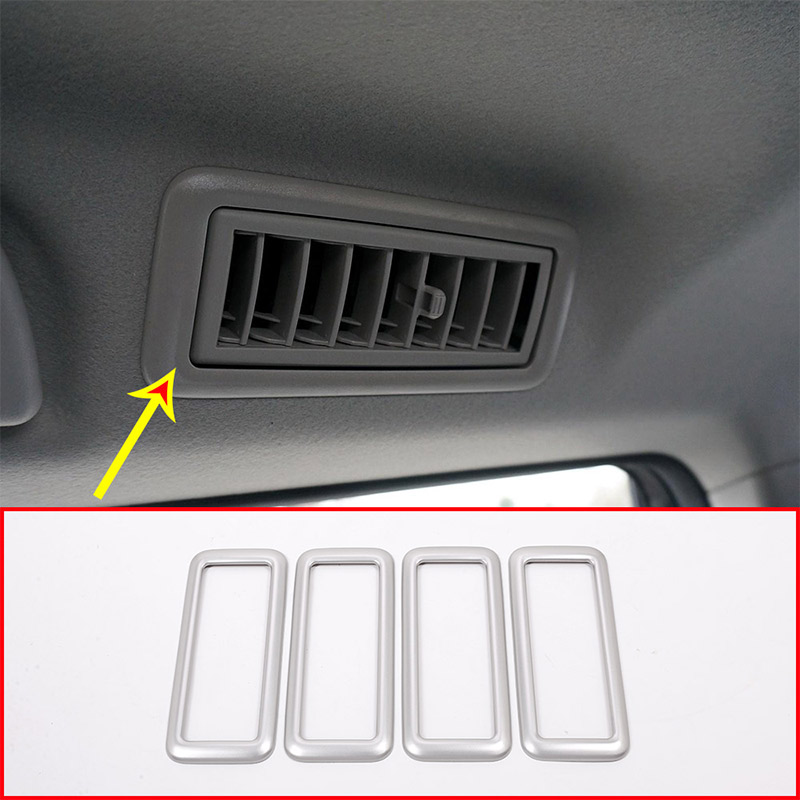 4pcs ABS Matte Silver Car Roof AC Vent Outlet Frame Trim For Toyota Land Cruiser Prado FJ150 150 2010-2017 Accessories