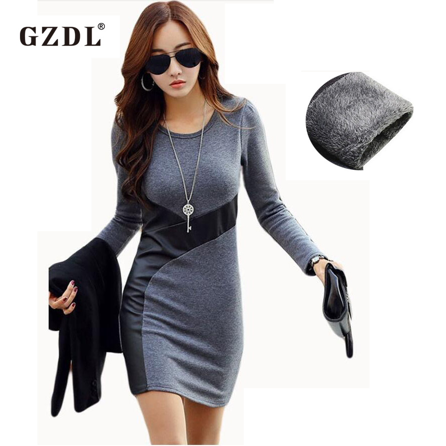 Gzdl xs xxl women autumn winter dresses long sleeve pu for Cocktail xxl