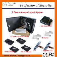 Два Дверные рамы Система контроля доступа ZK C3 200 двери Управление доступом Лер с карт и EM замок смарт карты Управление доступом