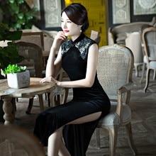 New Black Lace Cheongsam Long Dress Waist Slim Retro Elegant Sleeveless Dress for Daily and Reception