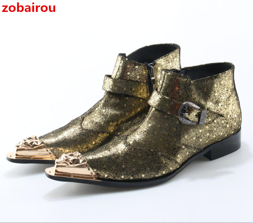 Zobairou Boots For Hombre Mens Metal Gold Pointed Toe Bling Bling Leather Stage Shoes Fashion Plus Size Ankle Boots For Men red men wedding dress shoes pointed toe ankle boots genuine leather botas hombre cowboy military boots metal decor men flats