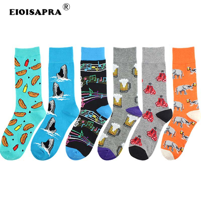 Casual Hip Hop Combed Cotton Funny   Socks   Men Creative Personality Fashion Trend Shark Beer Hot Dog Music Elephant Happy   Socks