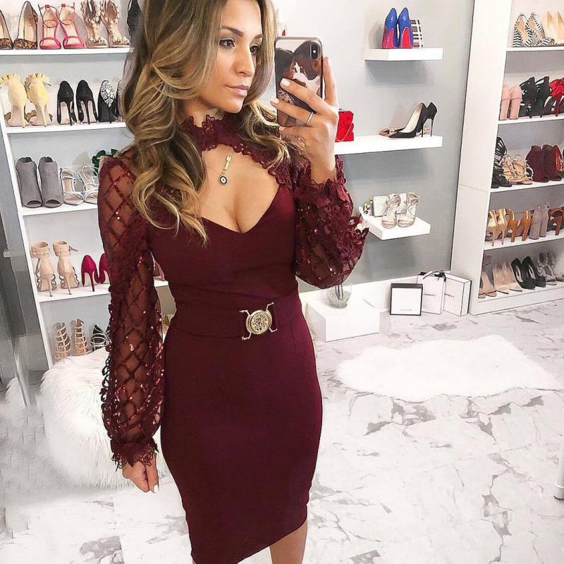 Sexy Black Party Elegant Flower Applique Contrast Mesh Sleeve Form Fitting Belted Solid Dress Autumn Women Streetwear Dresses XL