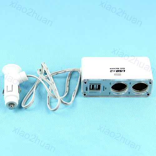 2 Voies Double Port USB Voiture Prise Allume Cigare Diviseur Drop Ship n21
