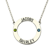 Wholesale Silver Circle Name Necklace With Birthstones Personalized Karma Necklace Engraved Name Necklace Birthstone Jewelry