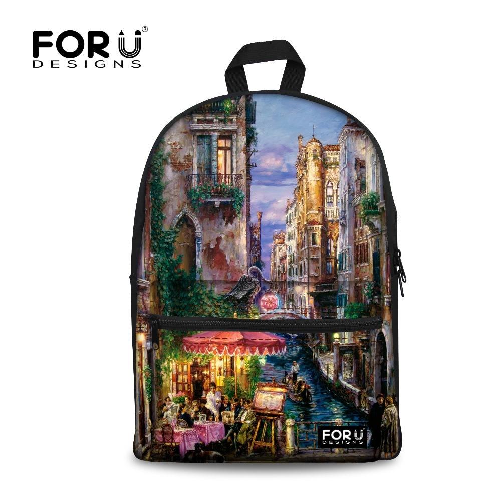 FORUDESIGNS Landscape Printing Backpack for Teen Girls 2017 School Female Backpacks Bags Women Bagpack Students Back
