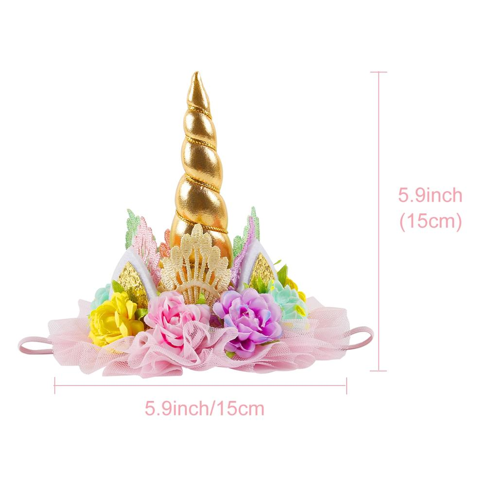QIFU 1pcs Golden Crown Happy Birthday Party Decorations Kids Lace Flower Crown Unicorn Party Hats Silver Hair Accessories Crown in Party Hats from Home Garden