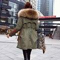 Alta Qualidade Grande Raccon Real Natural Casaco De Pele 2016 Jaqueta de Inverno Nova Moda WomenThick Para Baixo Parkas Jaqueta Verde Do Exército Feminino