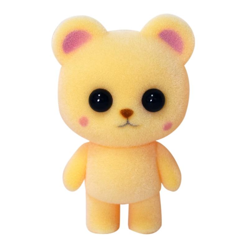 1pc 7cm kawaii yellow bear action figure cartoon mini fun animal flocked toy model car decoration children birthday gift