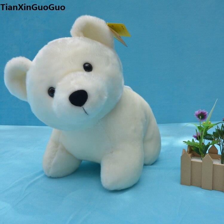 Grand 37 cm de bande dessinée polaire ours en peluche jouet ours blanc doux poupée coussin cadeau d'anniversaire s0104