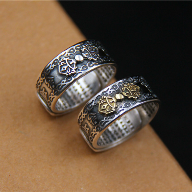 Solid 990 Sterling Silver Sanskrit Buddhist Mantra Rings Wide For Men And Women Six Words Sutra Signet Rings Prayer Jewelry
