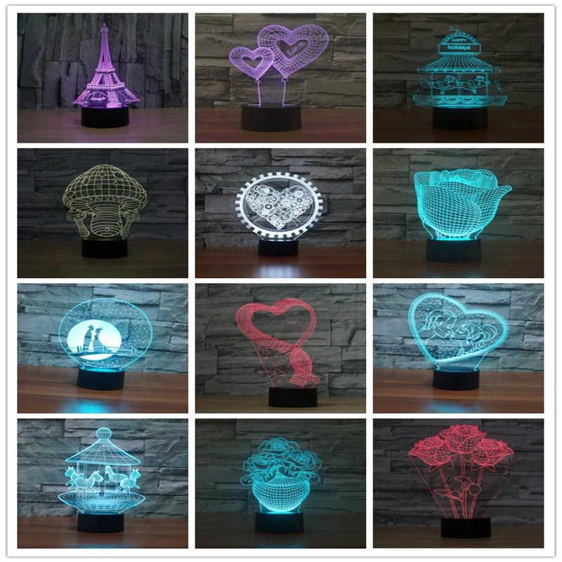 RGB أضواء LED قاعدة مصابيح ل 3D الوهم مصباح 4 مللي متر الاكريليك ضوء لوحة AA بطارية أو DC 5 V USB 3D ليالي أضواء