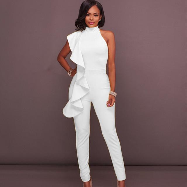 Elegant Ruffles women jumpsuits 2018 summer sleeveless black blue white long pencil pant bodycon tunic bandage rompers overalls