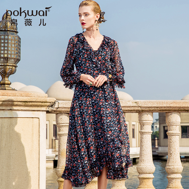 POKWAI Long Casual Floral A Line Women Chiffon Dress 2018 Spring New  Fashion High Quality V Neck Wrist Sleeve Ruffles Dresses-in Dresses from  Women's ...
