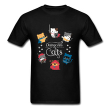 Dungeons and Cats Game of Thrones Funny T Shirts DnD Cat Cartoon Men Tshirt Europe Size Mens Summer/Autumn Tops Tees