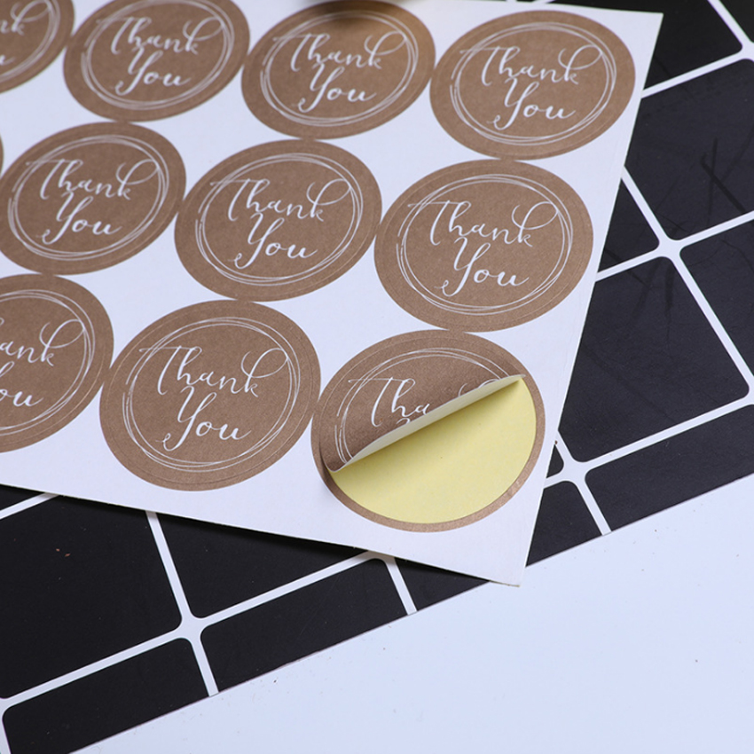 120pcs/lot Cute Round Thank You  Kraft Paper Label Sticker For Handmade Products DIY Self-adhesive Cake Packaging Label