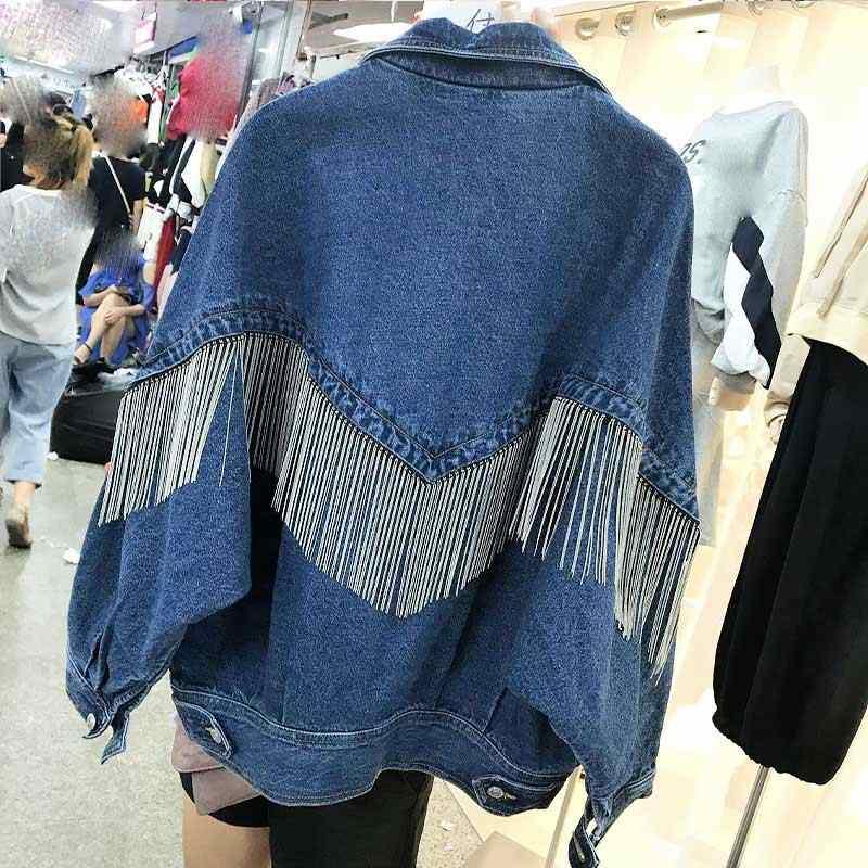 release info on really comfortable best deals on Women Fashion Punk Chain Tassel Denim Jacket Heavy Metal Blue ...