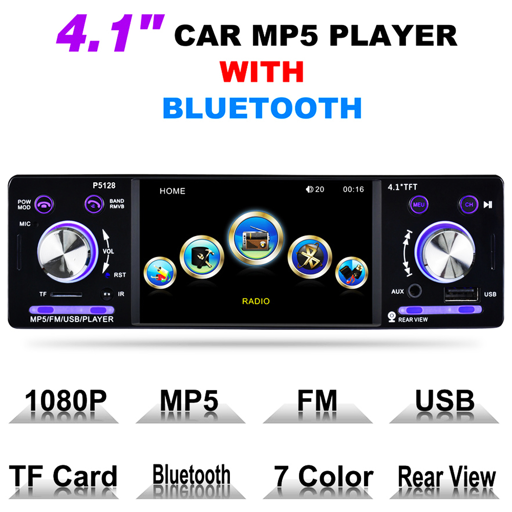 4.1 Inch Autoradio Car Radio 12V Bluetooth Car Stereo 1 Din FM Aux Input Receiver In-dash SD USB MP3 WMA APE Car MP4 MP5 Player in dash car touch usb sd mp3 mp5 player aux fm radio stereo bluetooth double din camera fashion item 17sept14