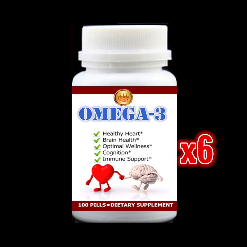 6 bottles 600PCS Omega-3 Capsules Healthy for Cognition Heart Brain Health Optimal Wellness Immune Support Supplement Free ship
