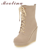 Meotina Women Winter Boots Wedge Platform High Heel Boots 2018 Mid Calf Boots Lace Up Shoes