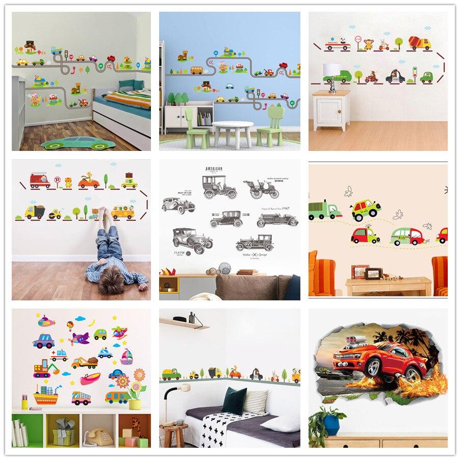 % 3d Diy Cartoon Tier Affe Flugzeuge Autos Autobahn Track Blumen Wand Aufkleber Kinder Zimmer Aufkleber Schlafzimmer Dekor Wand Kunst Pvc Ausgezeichnete (In) QualitäT