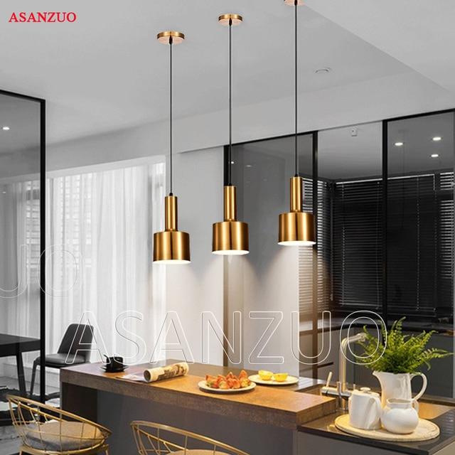 נורדי זהב ברונזה תליון אור הפוסטמודרנית מינימליסטי מסעדת תליון מנורות עתיק מתכת תליית מנורת תאורה
