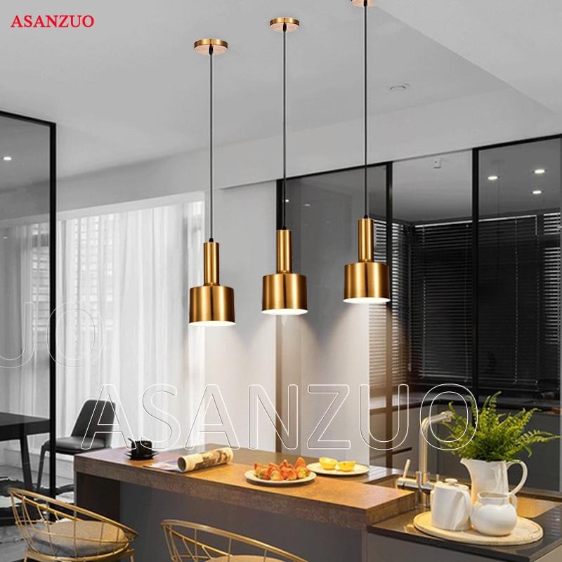 цена на Nordic Gold bronze pendant light postmodern minimalist restaurant pendant lamps antique metal hanging lamp lighting