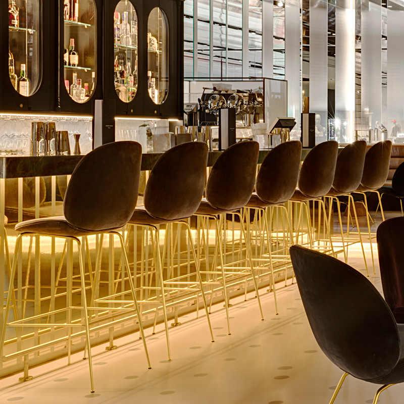 Простой стиль, скандинавский барный стул со спинкой, креативный кафетерий, высокий табурет, бытовой, многофункциональный, твердый, балкон, стул для отдыха