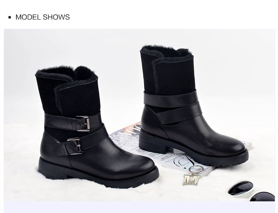 DONNA-IN 2017 winter new styles real fur mid-calf boots thick outsole metal buckle women boots warm wool low heel snow boots 838-702 (2)