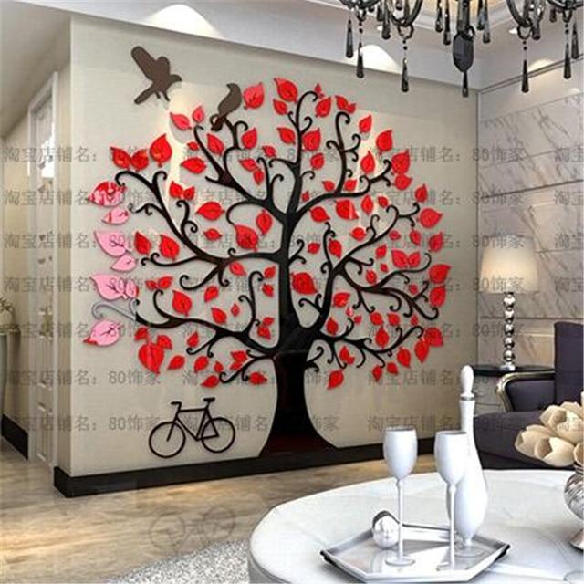 Driedimensionale muurstickers Boom Modern interieur woonkamer TV ...