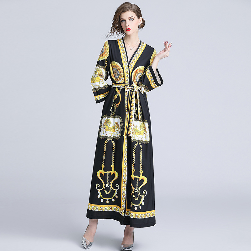 9e148aaf065 Women Black Dresses Print Chain Horses Covered Buttons Runway Gown Lace  Plus Size 2018 Autumn Long