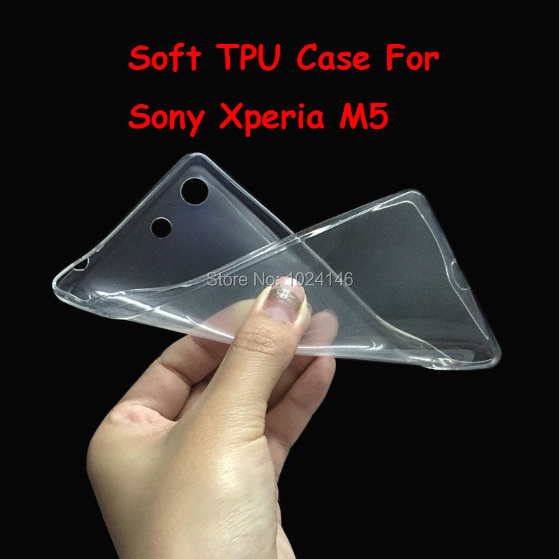 HANPINYOU Manufacturer Store New Slim Crystal Clear Transparent Soft TPU Back Case Cover Protection Skin For Sony Xperia M5 / M5 Dual 5.0\