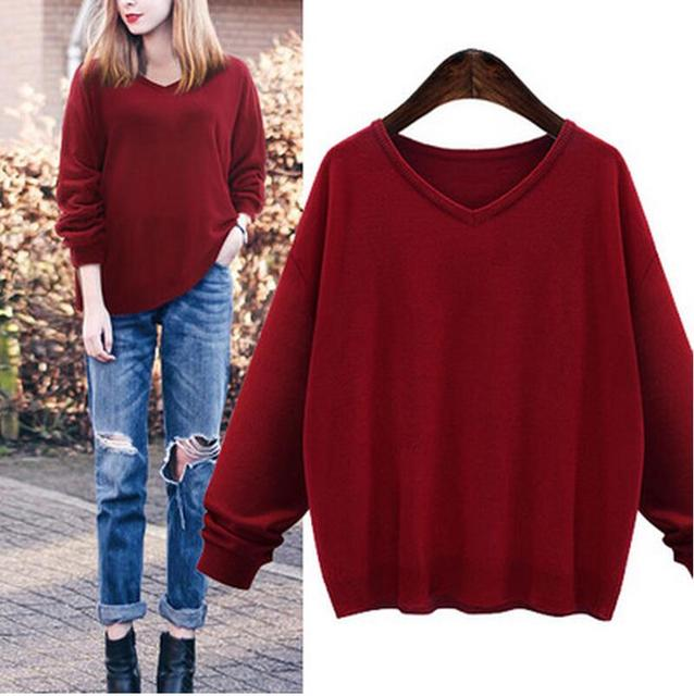 2016 Autumn Winter Women plus Size Long-sleeved Casual Knitted Sweater Blouse Loose V-neck Fashion Pullovers Sweater XXXXXL