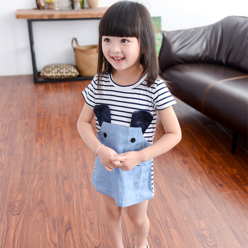 New Striped Patchwork Character Girl Dresses Cute Mouse Children Clothing Kids Girls Dress Denim Kids Clothes