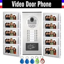 10 Units Apartment Intercom System Video Intercom Video Door Phone Kit HD Camera 7″ Monitor with RFID keyfobs for 10 Household