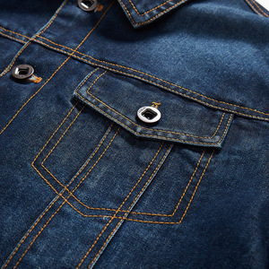 Image 5 - Мужская джинсовая куртка с отложным воротником и вышивкой, повседневные мужские джинсовые куртки с множеством карманов, ковбойские куртки, Bigig, Размер 6XL, весна осень