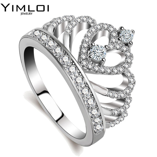 100% 925 Sterling Silver Color My Princess Queen Crown Engagement Ring for Women