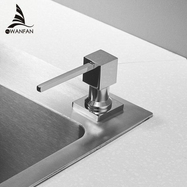 Диспенсер для кухонного мыла, квадратный дозатор для мыла, хромированный дозатор для кухни, встроенный диспенсер 2306