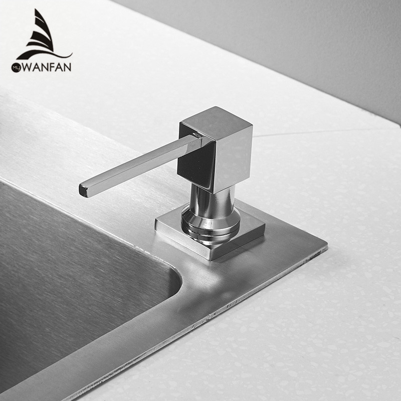 Deck Mounted Kitchen Soap Dispensers Square Pump Chrome Finished Soap Dispensers For Kitchen Built In Counter Top Dispenser 2306