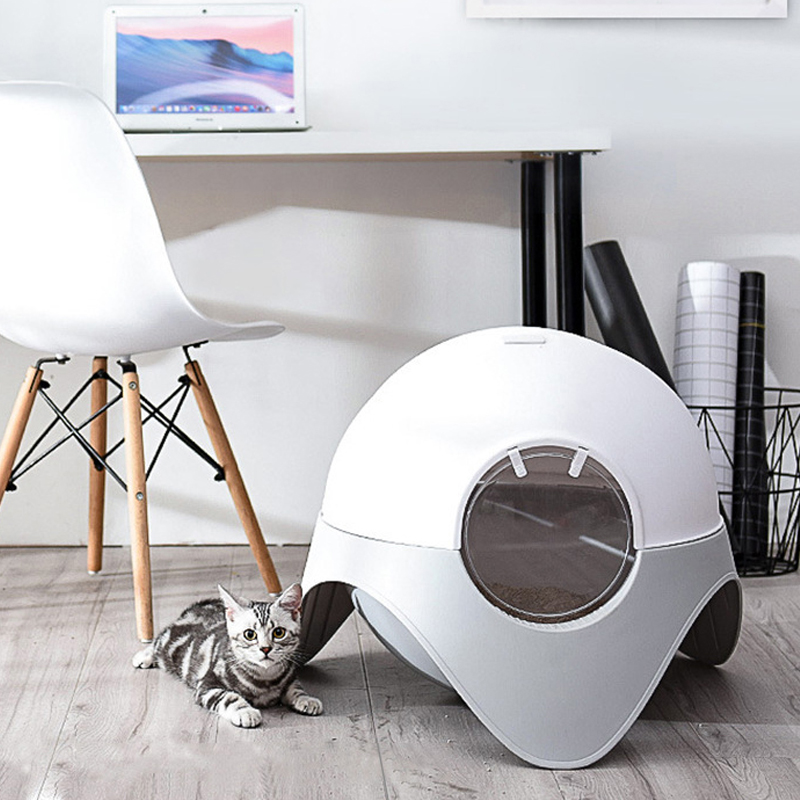 The Capsule Cat Sand Basin Totally Enclosed Pet Cat Toilet Cat Litter Pan Cleaning Cat Bowl Small Opaque 翻轉 貓 砂 盆