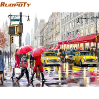 Frameless Modern City Street DIY Painting By Numbers Landscape Handpainted Oil Painting Acrylic Wall Art Picture