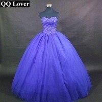 QQ Lover 2017 Sapphire Blue Luxury Beaded Ball Gown Wedding Dress With Video Custom Made Vestido