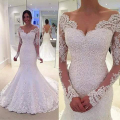 2016 Designer Sweetheart Appliqued Beaded Bling Bling Long Sleeve Mermaid Wedding Dresses