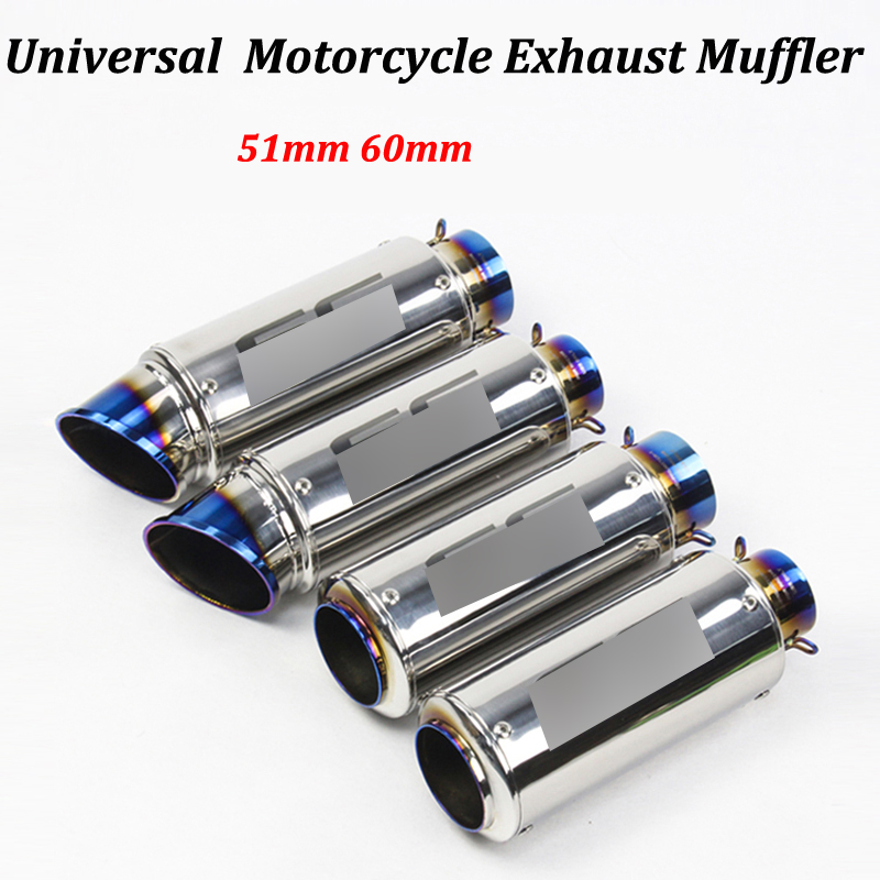 For Scooter Dirt Bike For R6 Yzf R6 Cbf190r Ninja 650 Er6n 51mm 60mm Motorcycle Exhaust Muffler Modified Escape Moto Tail Pipe