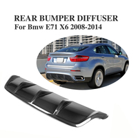 Difusor traseiro preto do bordo do amortecedor da fibra do carbono/frp para bmw e71 x6 2008-2014 acessórios do carro do difusor da exaustão